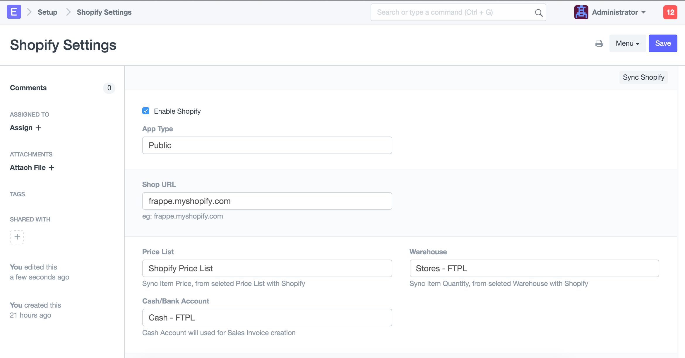 ERPNext Shopify Connector - Create invoice in shopify